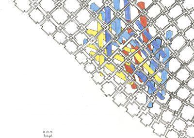 Anne Reiter - Zeichnung (o.T. - 2018 - Fineliner und Buntstift auf Papier - 29 x 29 cm)