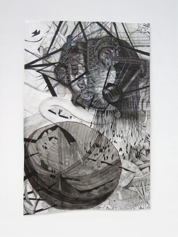 Dahlia de Candido - Die NSA hört meinen Anrufbeantworter ab - 2008 - Mischtechnik auf Papier - 250 x 150 cm