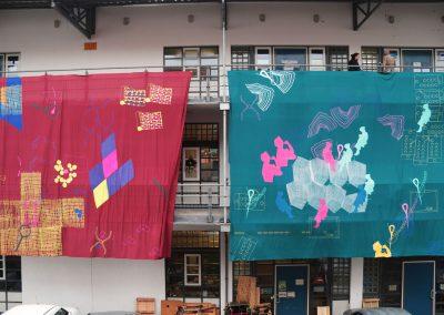 Anne Reiter - Siebdruckserie III & IV (Installationsansicht) - 2019 - Siebdruck auf Textil - je 800 x 580 cm