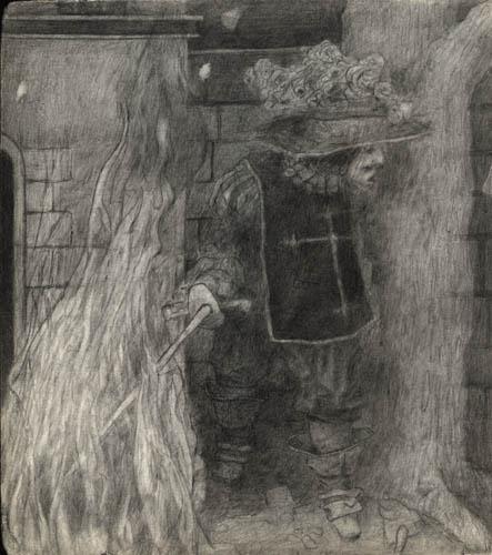 Robert Helms - Musketier im Feuer - 2009 - Bleistift auf Papier - 21 x 18,6 cm