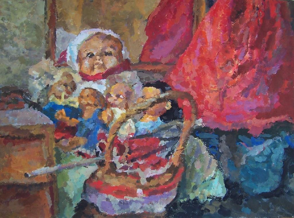 Sebastian Hennig - Puppenwagen - 2005 - Gouache auf Bütten - 39,5 x 53,5 cm