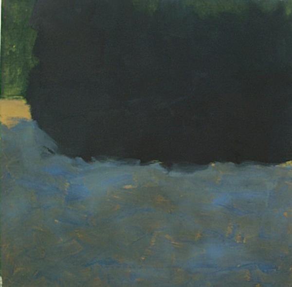 Anne Dubber - Dark Blue pressing in - 2009 - Ölfarbe, Eitempera auf Leinwand - 50 x 50 cm