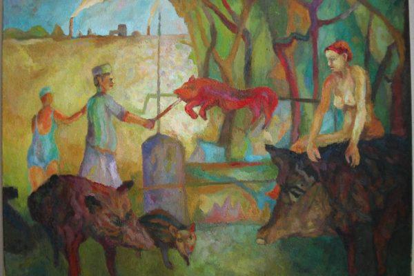 Sebastian Hennig - Biwak der Eber - Öl auf Leinwand - 70 x 90 cm