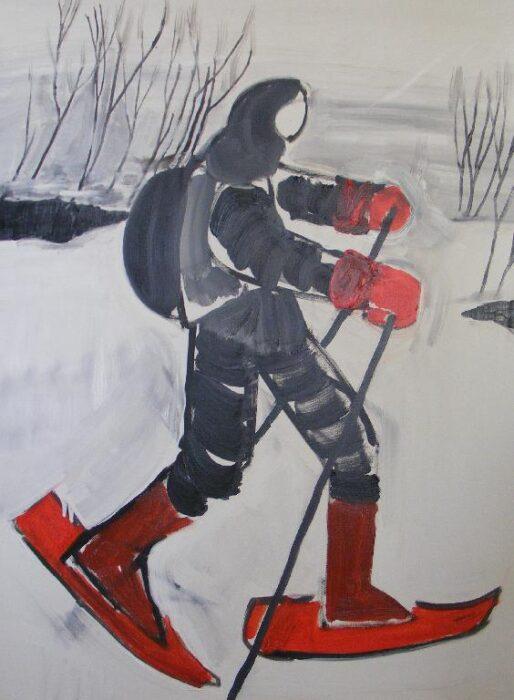 Justus Bräutigam - Mensch im Schnee - 2018 - Öl auf Leinwand - 80 x 60 cm