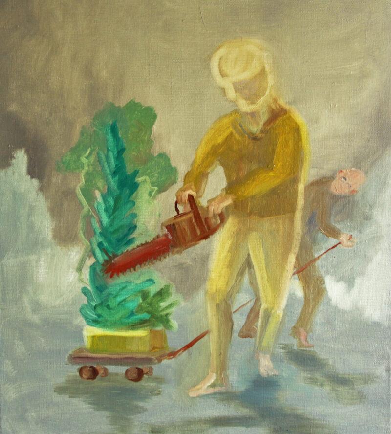 Anne-Cathrin Brenner - Dicke Luft - 2019 - Öl auf Leinwand - 42 x 38 cm