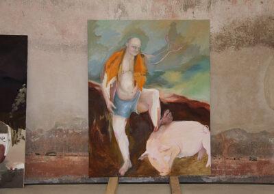 Anne-Cathrin Brenner - Wurstkönig II (Ausstellungsansicht) - 2018 - Öl auf Leinwand - 180 x 140 cm