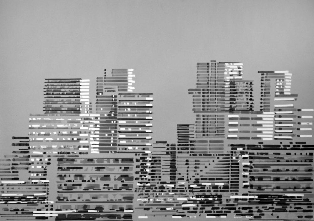 Philipp Gloger - Beirut - 2019 - Tusche und Tipex auf Karton - 70 x 100 cm