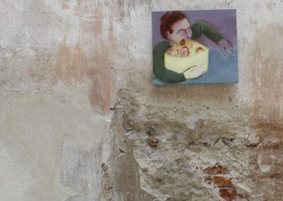 Anne-Cathrin Brenner - Menschenmüsli (Ausstellungsansicht) - 2018 - Öl auf Leinwand - 48 x 55 cm