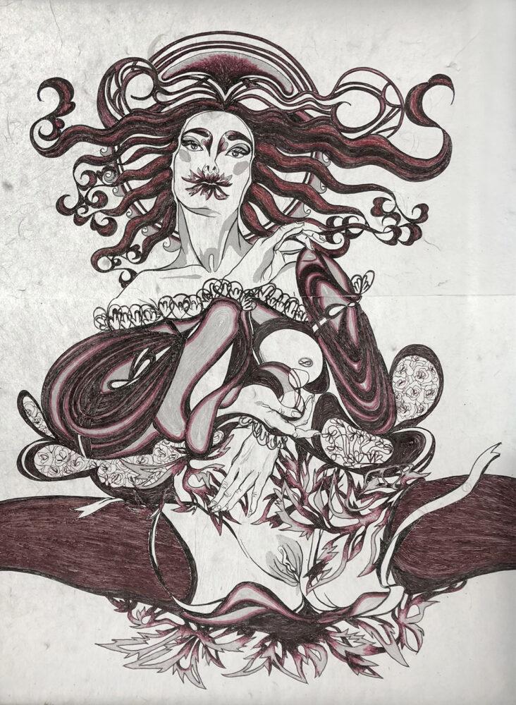 Fides Linien - Nona - 2017 - Paper (Kozo), Yarn - 84 x 59 cm
