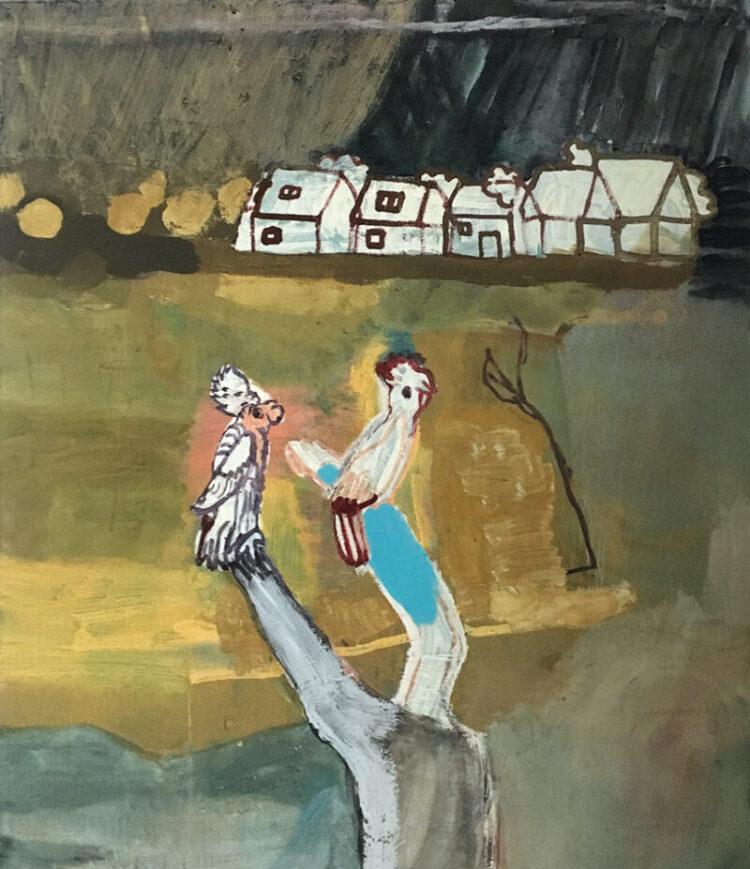 Maja Drachsel - Papageien Stadt - 2018 - Mischtechnik auf Leinwand - 100 x 80 cm