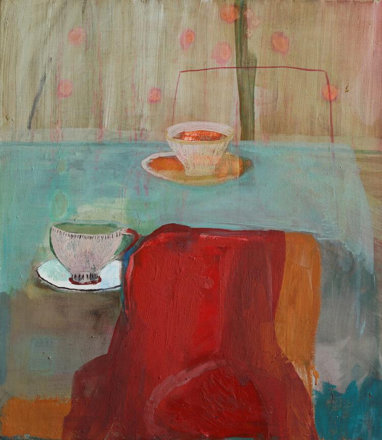 Maja Drachsel - Rotes T-Shirt (aus der Serie: Stillleben aus dem Atelier) - 2019 - Mischtechnik auf Leinwand - 70 x 50 cm