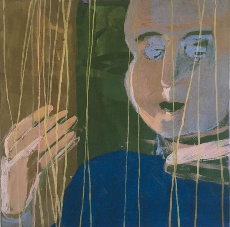 Maja Drachsel - Weberin (aus der Serie: Sad Portraits mit Händen) - 2018 - Öl und Tempera auf Leinwand - 100 x 100 cm