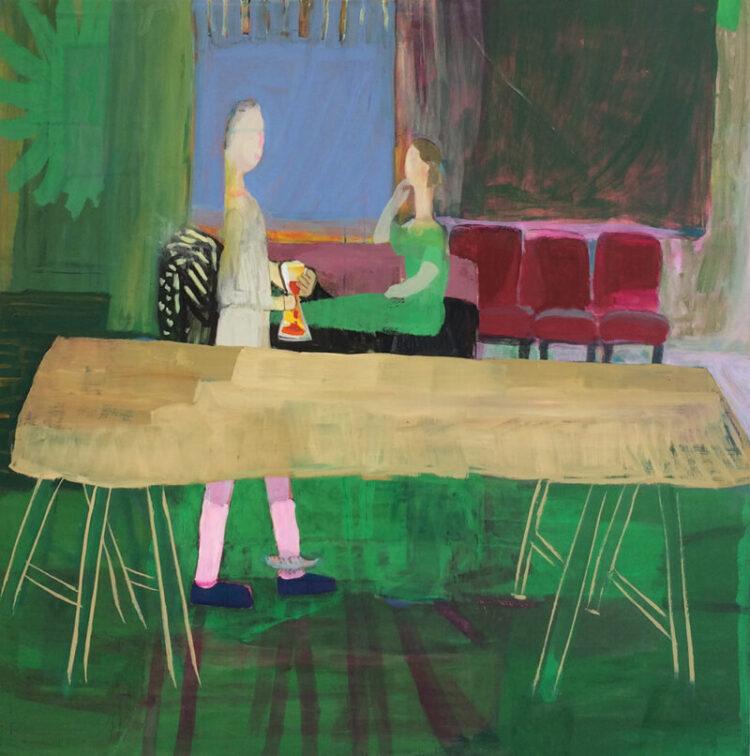Maja Drachsel - Die Feder - 2018 - Tempera auf Leinwand - 150 x 150 cm