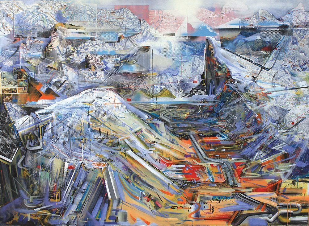 Philipp Gloger - Sellaronda - 2016 - Malerei, Collage und Acryl auf Leinwand - 150 x 200 cm