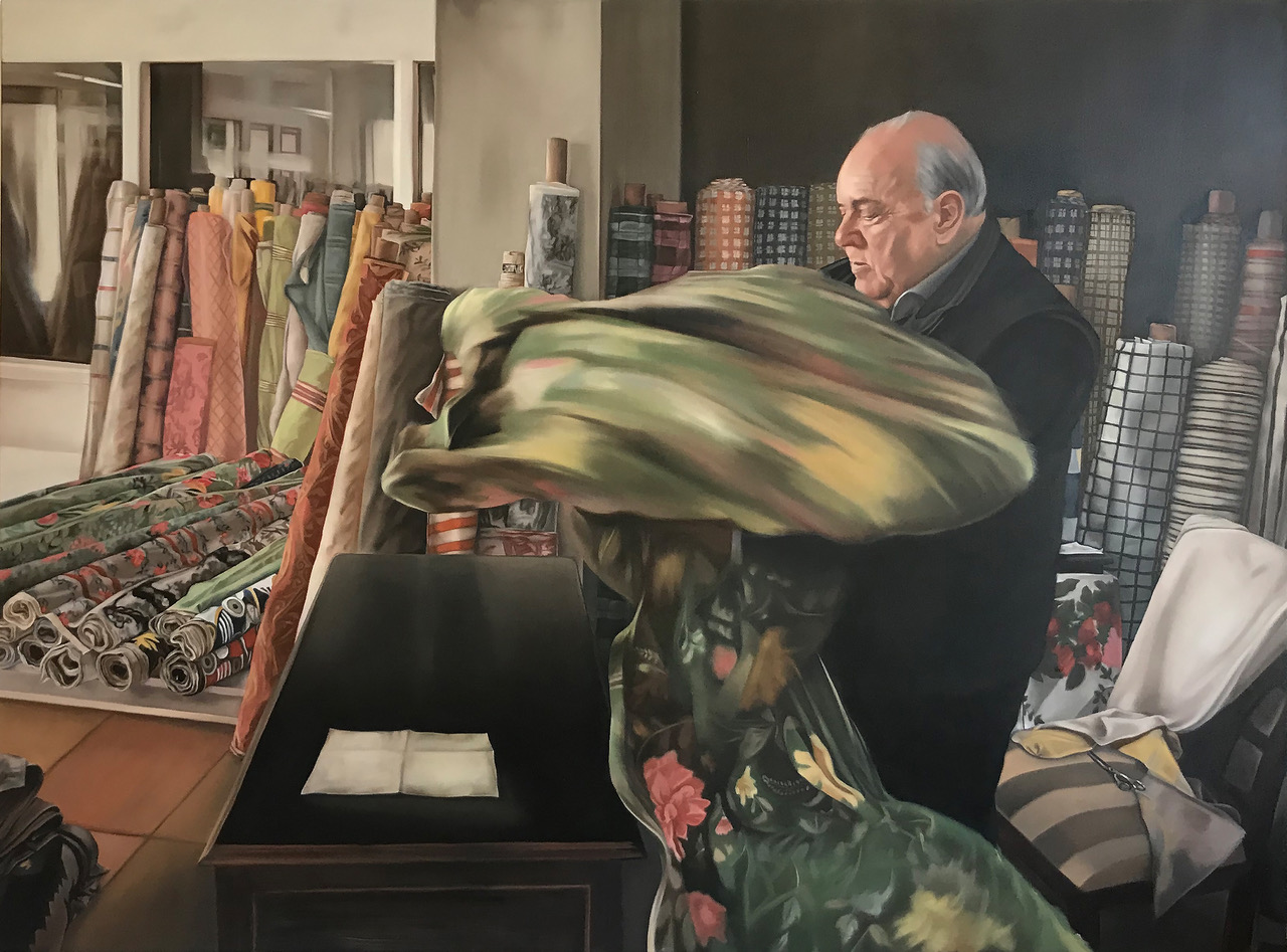 Wiebke Herrmann - Stoffhändler - 2019 - Öl auf Leinwand - 140 x 170 cm