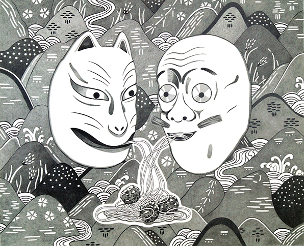 Alexandra Müller - Spaghettifreunde / Maske (VII & VIII) - 2019 - Bleistift auf Papier - 35 x 50 cm