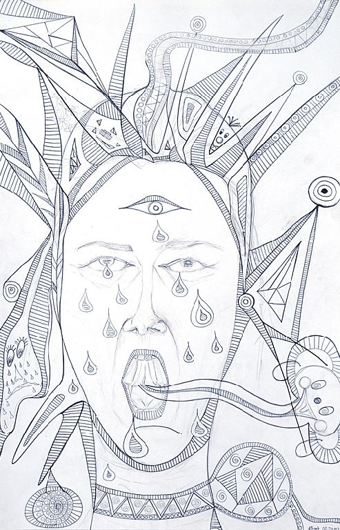 Anja Böttger - Mein Schrei - 2010 - Bleistift auf Papier - 50 x 33 cm
