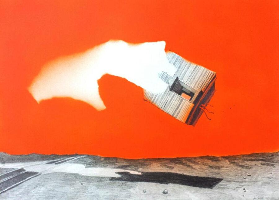 Markus Lange - So Far From Home - 2017 - Sprühlack und Bleistift auf Papier - 37 x 51 cm
