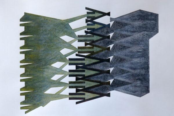 Silke Wobst - Verschränkung - 2016 - Aquarell, Bleistift, Buntstift, Pigmenttusche auf Papier