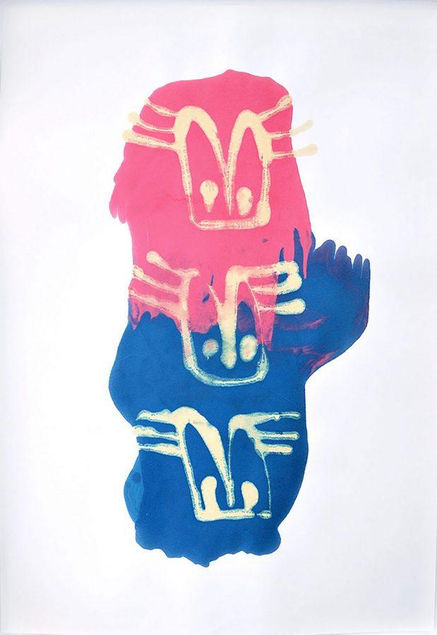 Maria Katharina Morgenstern - Aronstab - 2017 - Tusche und Schellack auf Papier - 140 x 100 cm