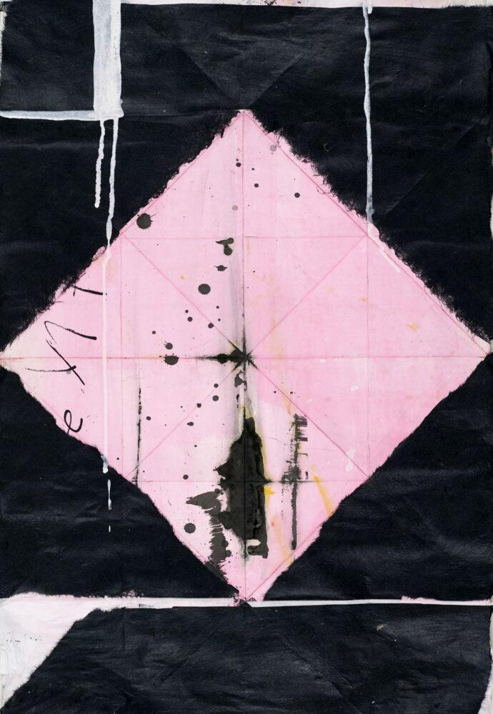Heike Berl - ROSE - 2017 - Tusche, Edding, handgeschöpftes und gefärbtes Papier, Faltung, Collage - 73 x 52 cm