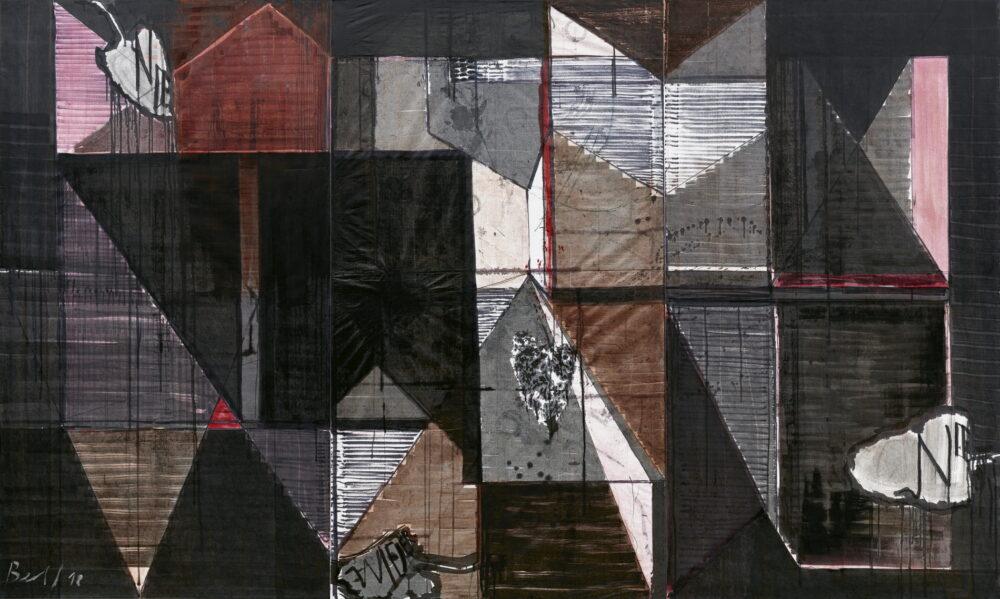 Heike Berl - SCHWARZE JAHRE - 2018 - Tusche, Edding, Acryl auf Tyvek - 300 x 100 cm (dreiteilig)