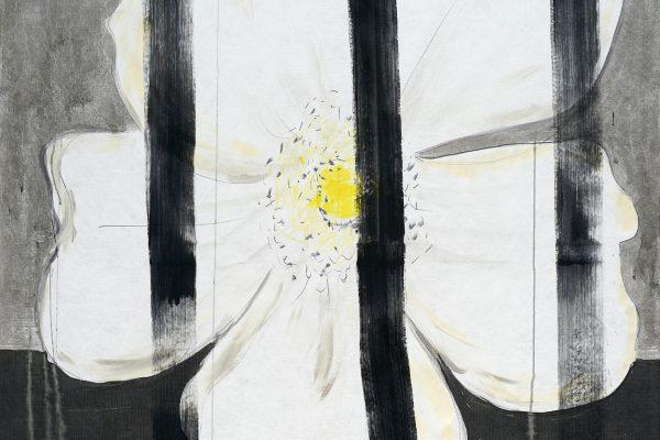 Heike Berl - WEISSE ROSE I (Detail) - 2019 - Tusche, Edding, Acryl auf Tyvek - 180 x 140 cm