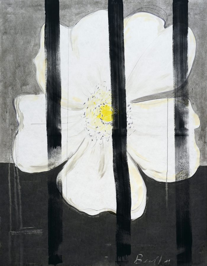Heike Berl - WEISSE ROSE I - 2019 - Tusche, Edding, Acryl auf Tyvek - 180 x 140 cm