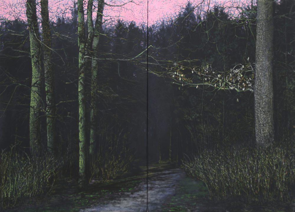 Thorsten Groetschel - Waldpark Silence - 2017 - Öl auf Leinwand - 130 x 130 cm