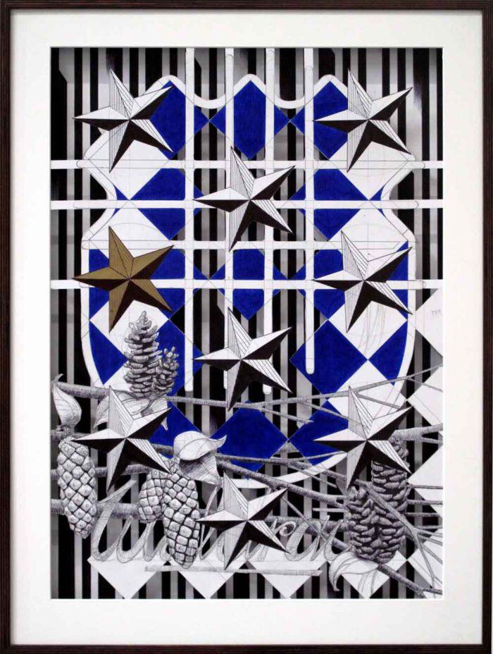 Stefan Leyh - Tapphart - 2018 - Kugelschreiben und Tusche auf Papier - zweiteilig (hintereinander im Doppelrahmen), je 80 x 60 cm