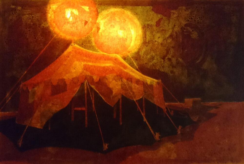Stefan Leyh - Tent 8 - 2016 - Grafit und Schellack auf Papier - Präsentation mit Lichtquellen in einem Leuchtkasten