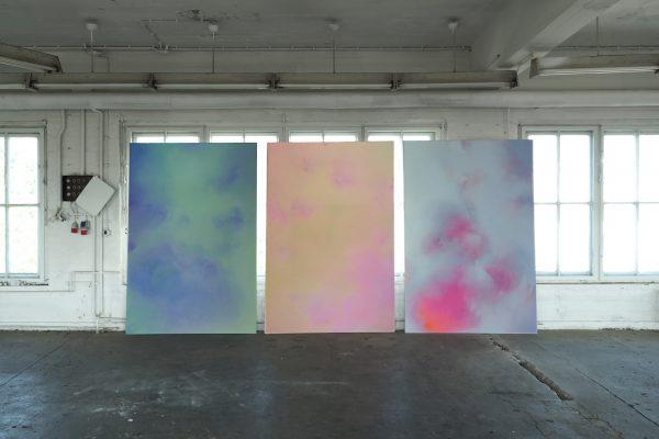 Marie Athenstaedt - Substanz 17, Substanz 18 & Substanz 7 (Atelieransicht) - 2018-2019 - Öl auf Leinwand - je 155 x 230 cm