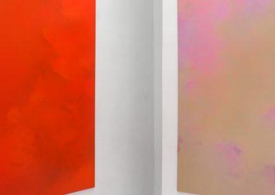 Marie Athenstaedt - Substanz 15 & Substanz 18 - 2019 - Öl auf Leinwand - je 155 x 230 cm - Ausstellungsansicht, Leipzig, 2020