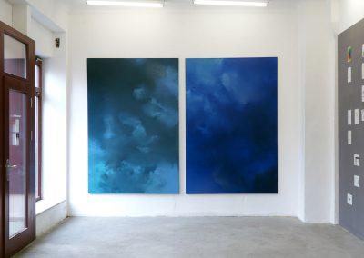 Marie Athenstaedt - Substanz 11 & Substanz 4 - 2018 - Öl auf Leinwand - je 155 x 230 cm - Ausstellungsansicht, Leipzig, 2019