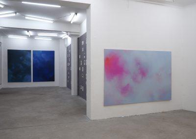 Marie Athenstaedt - Substanz 11, Substanz 4 & Substanz 7 - 2018 - Öl auf Leinwand - je 155 x 230 cm - Ausstellungsansicht, Leipzig, 2019