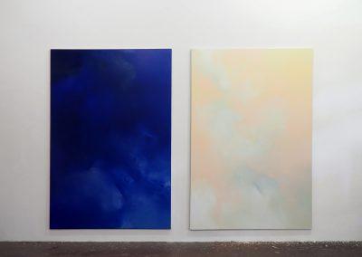 Marie Athenstaedt - Substanz 4 & Substanz 5 - 2018 - Öl auf Leinwand - je 155 x 230 cm - Ausstellungsansicht, Leipzig, 2018