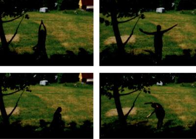 Katina (Tina) Rank – Pappellapapp (Filmstills) – 2019 – Holz, Gips, Styropor, Videoloop – Schrankgröße: ca 1,75 m