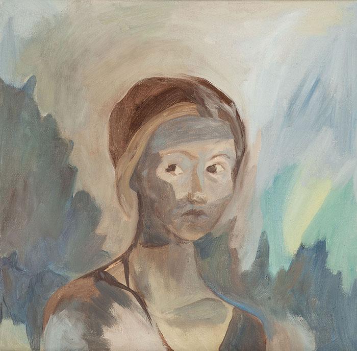 Swantje Ahlrichs - Selbstbildnis - 2017 - Öl-Tempera auf Leinwand - 43 x 42 cm
