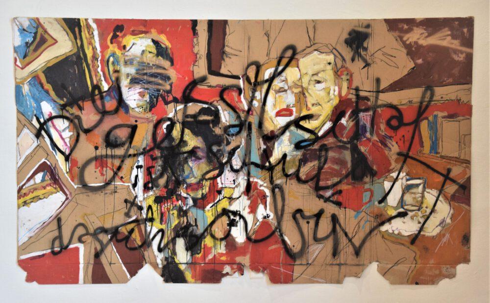 Jascha Wolfram - Die Gesellschaft ist schuld, dass ich so bin - Die Gesellschaft ist schuld, dass ich so bin - 2016 - Acryl und Spryfarbe auf Karton - 120 x 230 cm