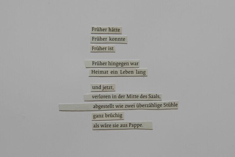 Laura Erika Urbanski - Früher hätte (aus der fortlaufenden Serie: zwischenzeilig) - 2018 - Zeitungsschnipsel auf Papier