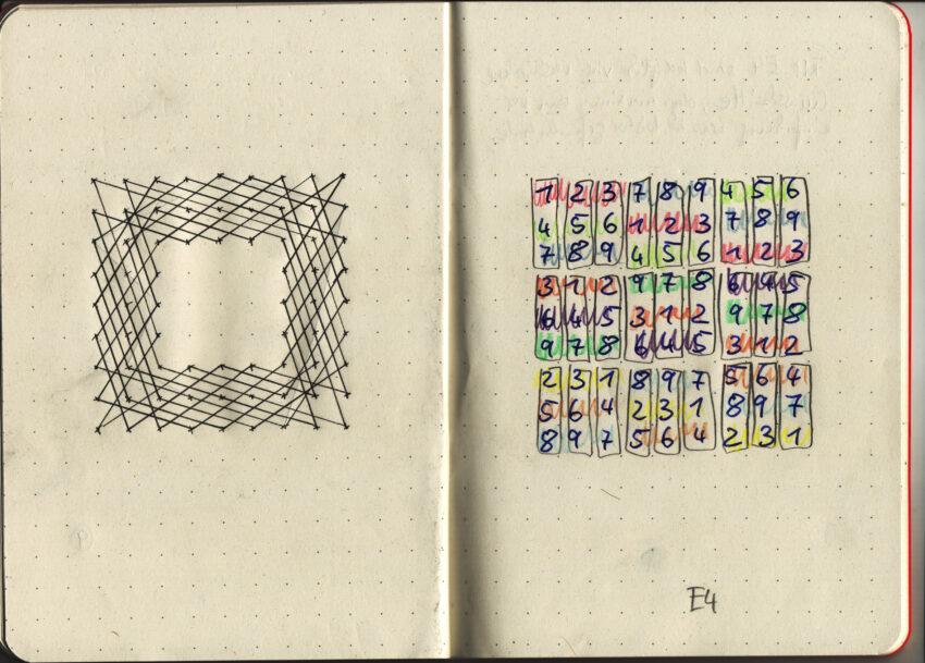 Tobias Stengel - Sudoku sketchbook (Detail) - 2018 - Grafit und Buntstift - 29,8 x 21 cm