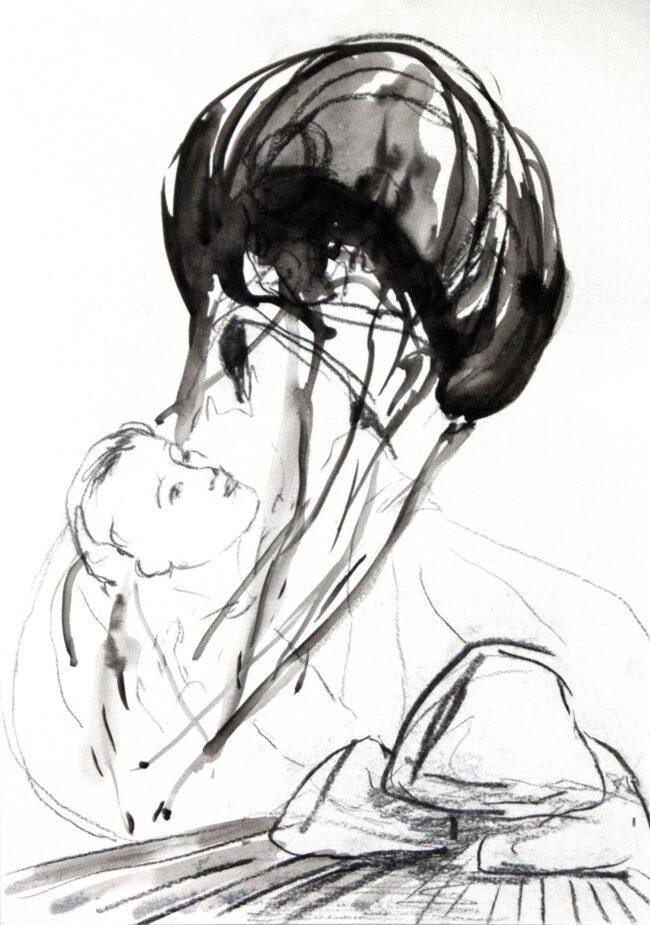 Katharina Baumgärtner - halb zog sie ihn - 2017 - Tusche und Grafit auf Papier - 30 x 21 cm