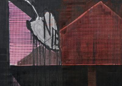 Heike Berl – SCHWARZE JAHRE (Detail) – 2018 – Tusche, Edding, Acryl auf Tyvek – 300 x 100 cm (dreiteilig)