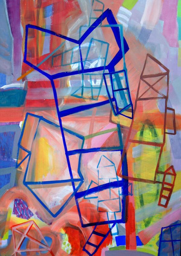 Katharina Lewonig - Hinkeln 8-16 - 2016 - Acryl auf Leinwand - 140 x 100 cm