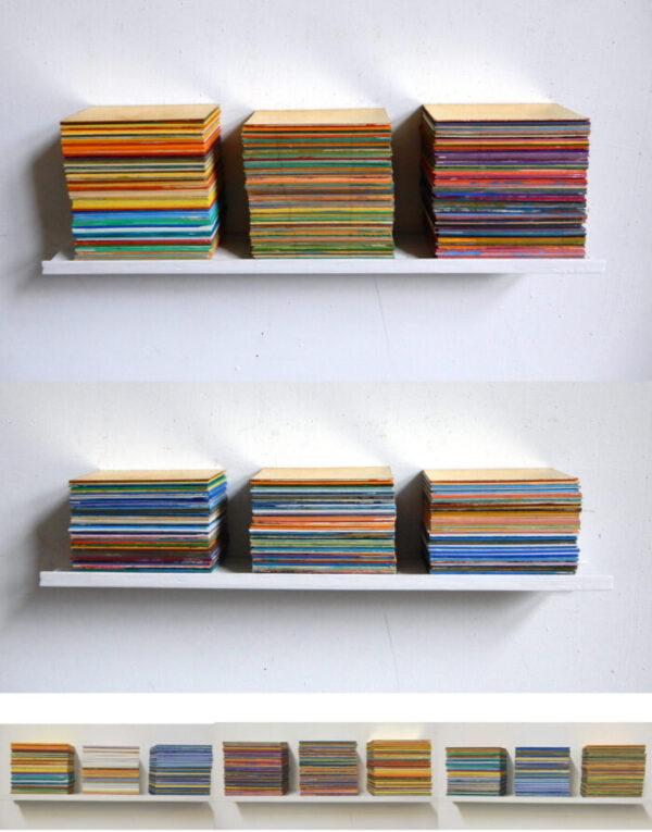 Katharina Lewonig - Farbplattensammlung - 2018-2020 - Passepartout und Karton auf Holz - dreiteilig, je 5 x 40 x 10 cm