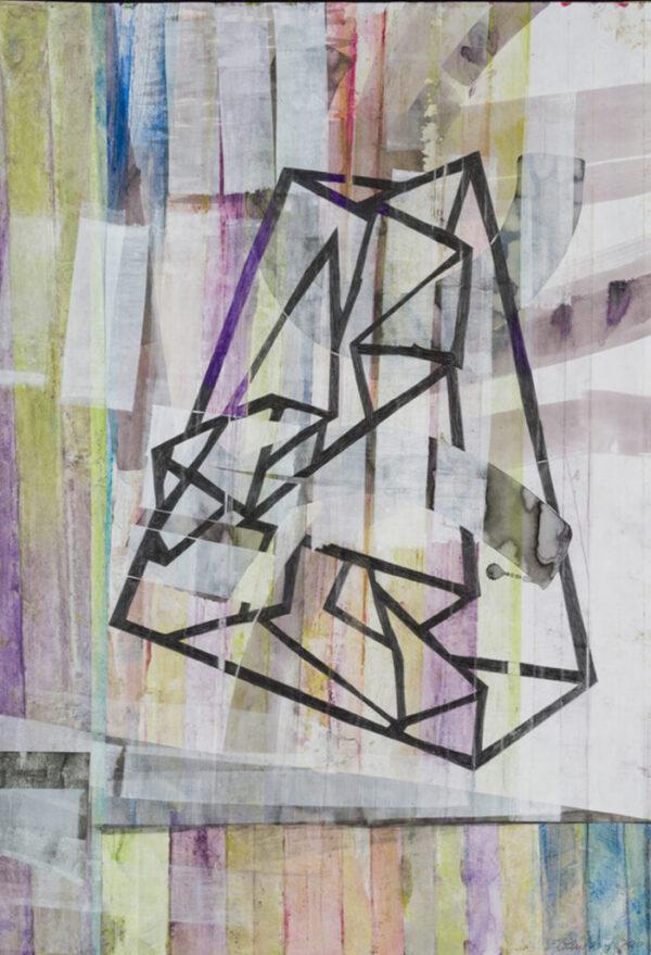 Katharina Lewonig - Figur24S (Serie: Faltungen) - 2020 - Gouache und Tusche - 100 x 72 cm