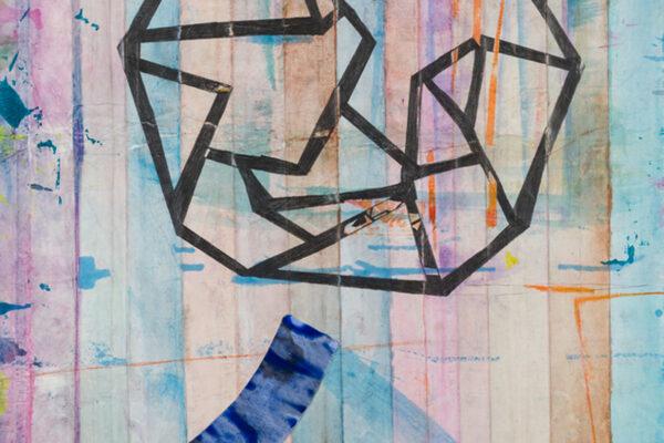 Katharina Lewonig - Figur3 (Serie: Faltungen) - 2019 - Gouache und Tusche - 100 x 72 cm