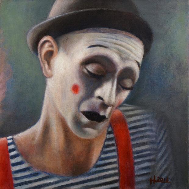 Mathias Antonio Herrmann - Erschöpfter Clown - 2018 - Öl auf Leinwand - 40 x 40 cm