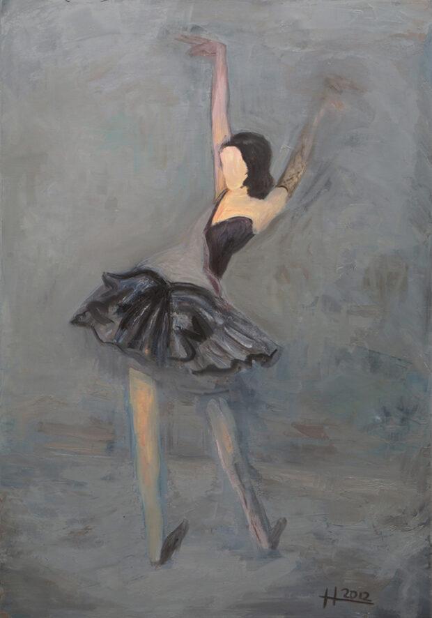 Mathias Antonio Herrmann - Tänzerin - Grau 2012 - Öl auf Leinwand - 100 x 70 cm