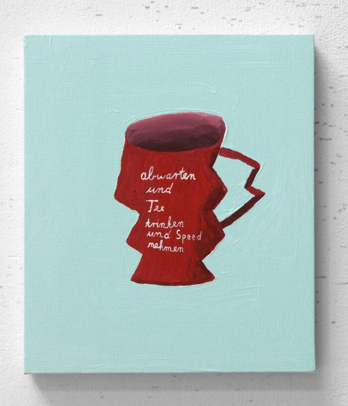Nicolas Dupont - Abwarten und Tee trinken - 2020 - Öl auf Leinwand - 40 x 30 cm